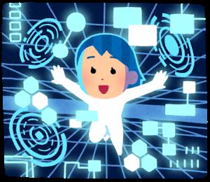電脳空間の世界を飛び回る女性