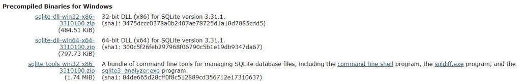 sqlite3.exeのダウンロードパッケージ選択画面