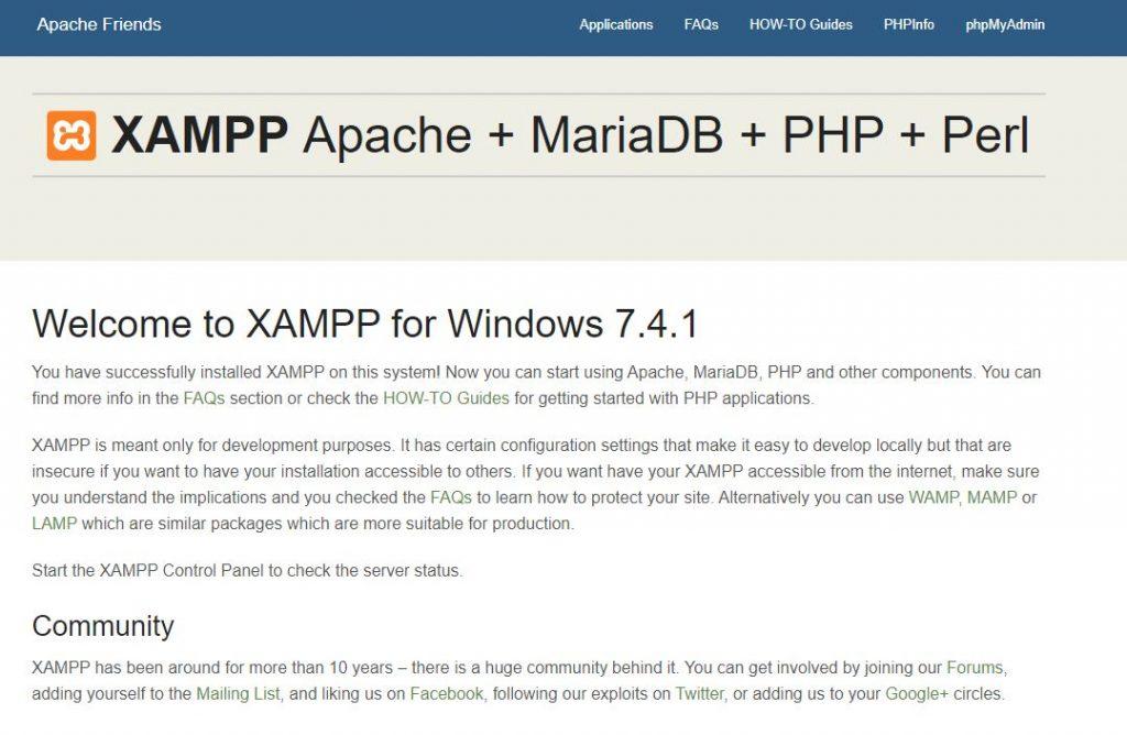 XAMPP起動正常の画面
